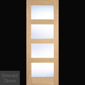 Contemporary Oak 4L Internal Door with Clear Glass