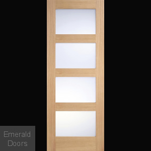 Contemporary Oak 4L Internal Door with Frosted Glass
