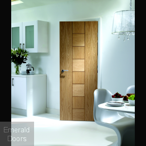 Messina Unfinished Oak Fire Door In Roomset