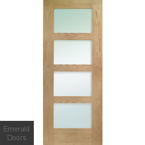 Oak Shaker 4L Obscure Glazed Prefinished Door