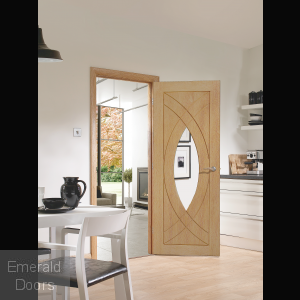 Treviso with Clear Glass Unfinished Oak In Roomset