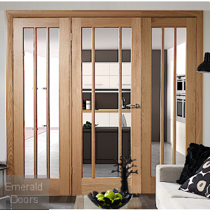 Oak Worcester Clear Glazed Room Divider with Side Panels