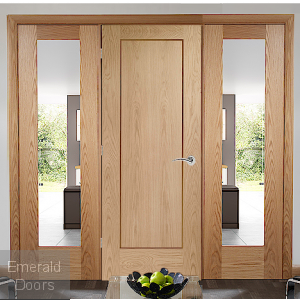 OAK PATTERN 10 SOLID DOOR ROOM DIVIDER WITH SIDE PANELS