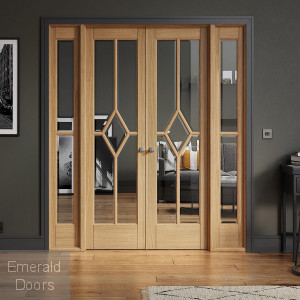 Reims W6 Oak Internal Room Divider with Side Panels