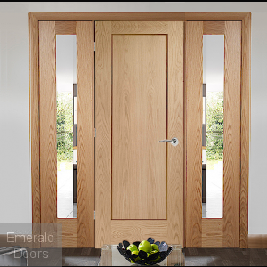 Oak Pattern 10 Solid Door Room Divider with Demi Panels
