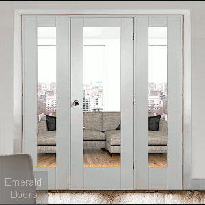 White Pattern 10 Clear Glazed Room Divider with Demi Panels