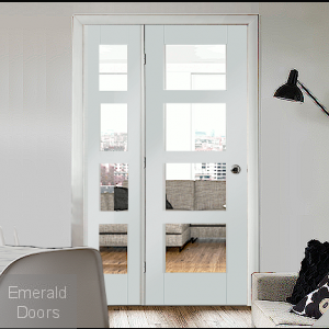 The matching demi panel is also supplied with 4 clear glass panes and can be positioned on either side of the door. This door set is supplied complete with a matching universal frame