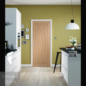 Salerno Unfinished Oak Fire Door In Roomset