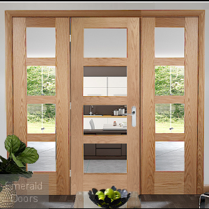 Oak Shaker 4 Light Room Divider with Matching Side Panels