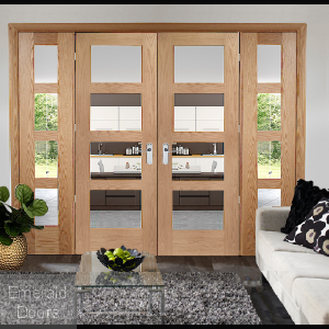 Oak Shaker 4 Light French Doors with Demi Panels