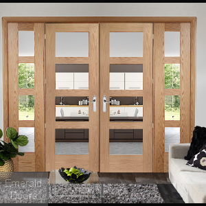 Oak Shaker 4 Light French Doors with Side Panels