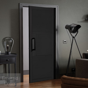 Black Tribeca 3 Panel Internal Door