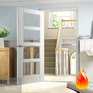 White Shaker 4 Light Fire Door
