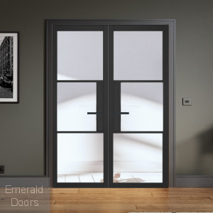 Black Tribeca 3L Clear Glazed Internal Door Pair