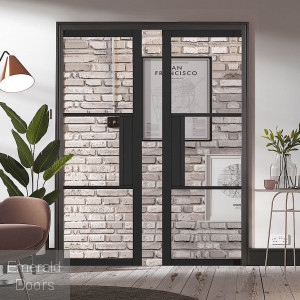 Black Tribeca 3L Clear Glazed Pocket Door System