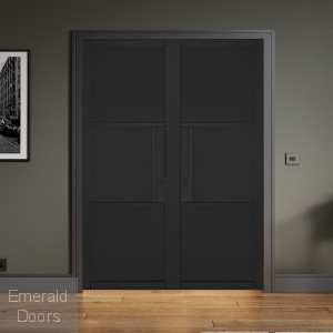 Black Tribeca 3 Panel Internal Door Pair