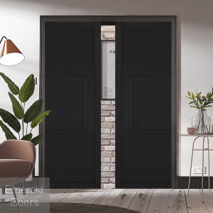 Black Tribeca 3 Panel Pocket Door System