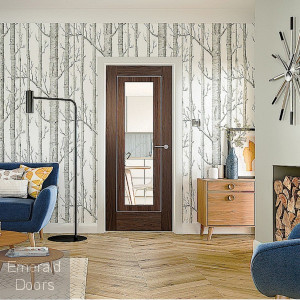 Varese Walnut Door with Clear Glass