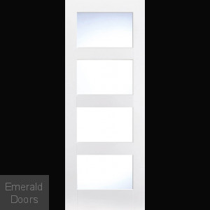 Shaker 4 Light Glazed Door White Primed