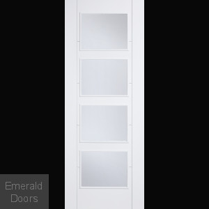 WHITE PRIMED VANCOUVER 4L CLR GLAZED FIREDOOR