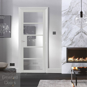 Metro White 5L Glazed Industrial Style Door Fully Finished