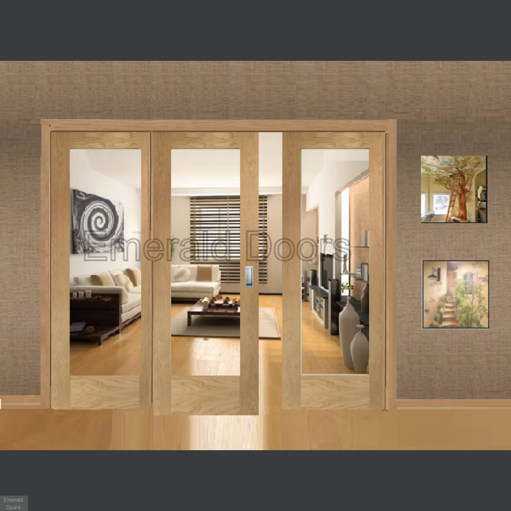 Buy Oak Pattern 10 Sliding Door System With Fixed Panels Clear