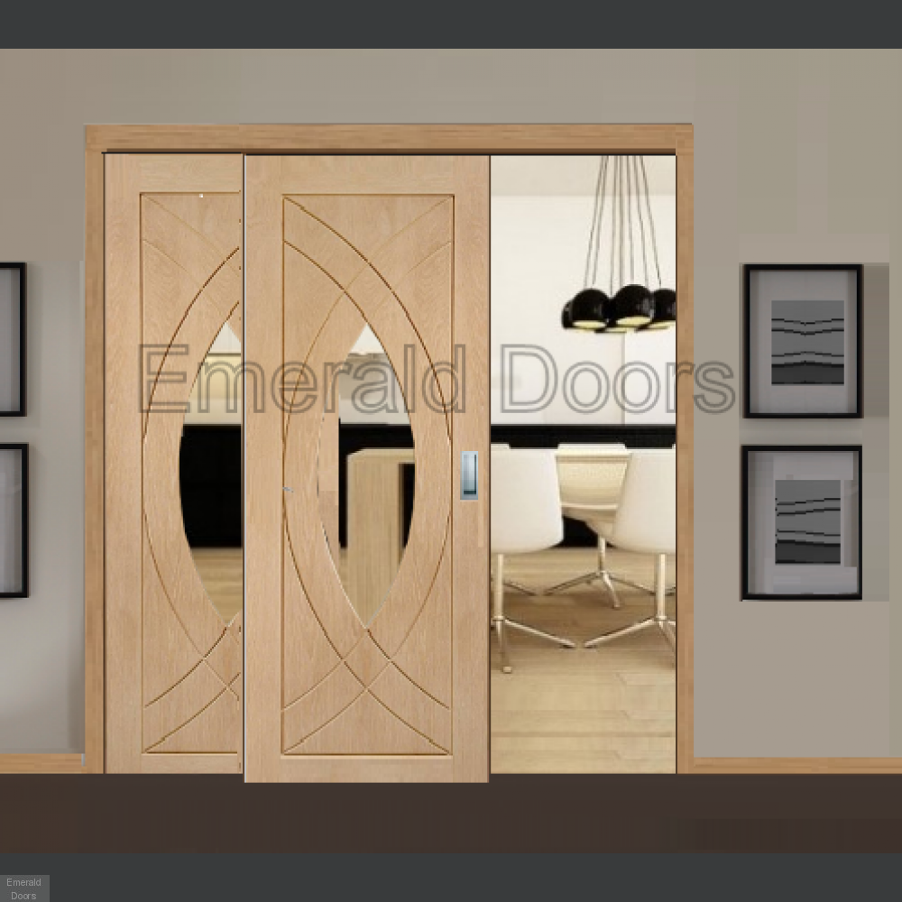 Buy Oak Treviso Sliding Door With Fixed Side Panel