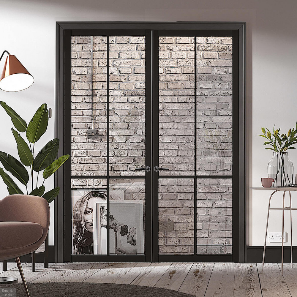 Liberty Black 4l Clear Glazed Door Pair Crittall Style