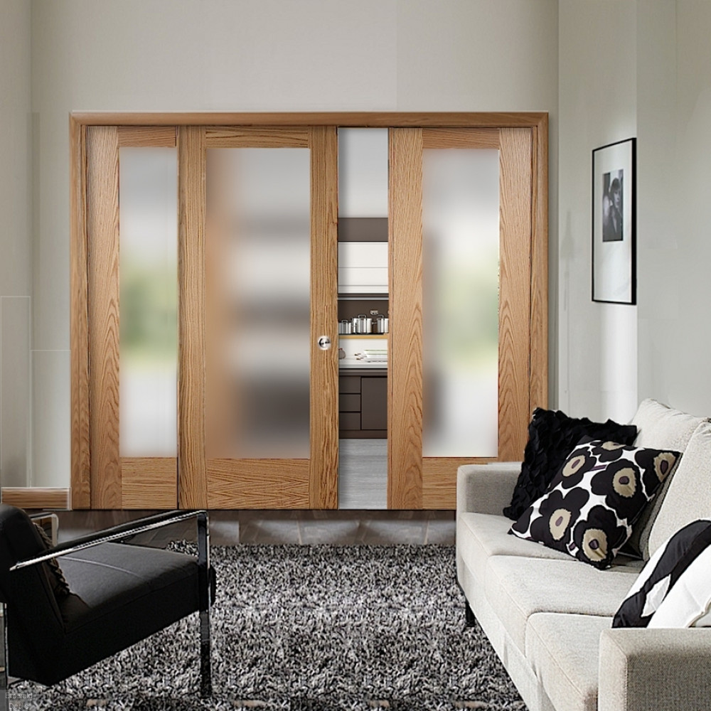Buy Oak Pattern 10 Sliding Door System With Fixed Panels