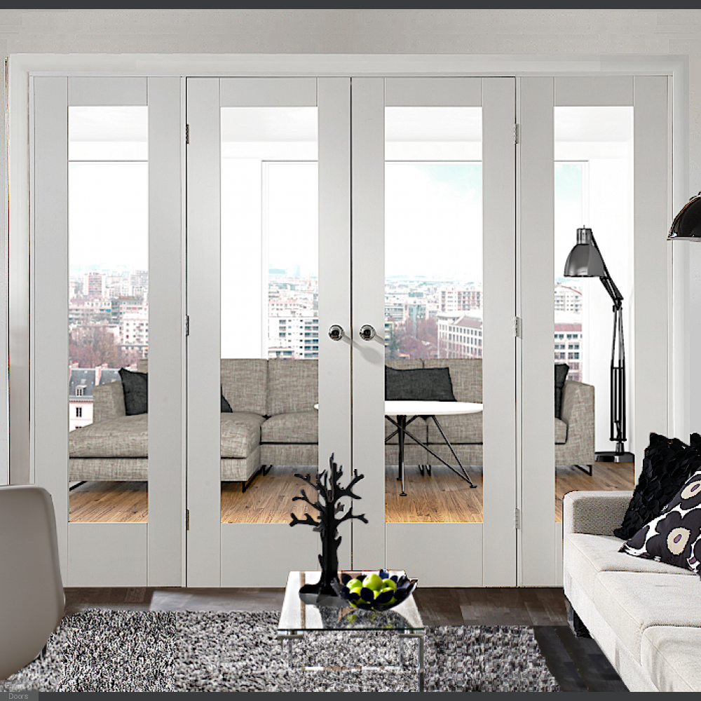 Buy White Pattern 10 Clear Glazed French Doors With Side Panels