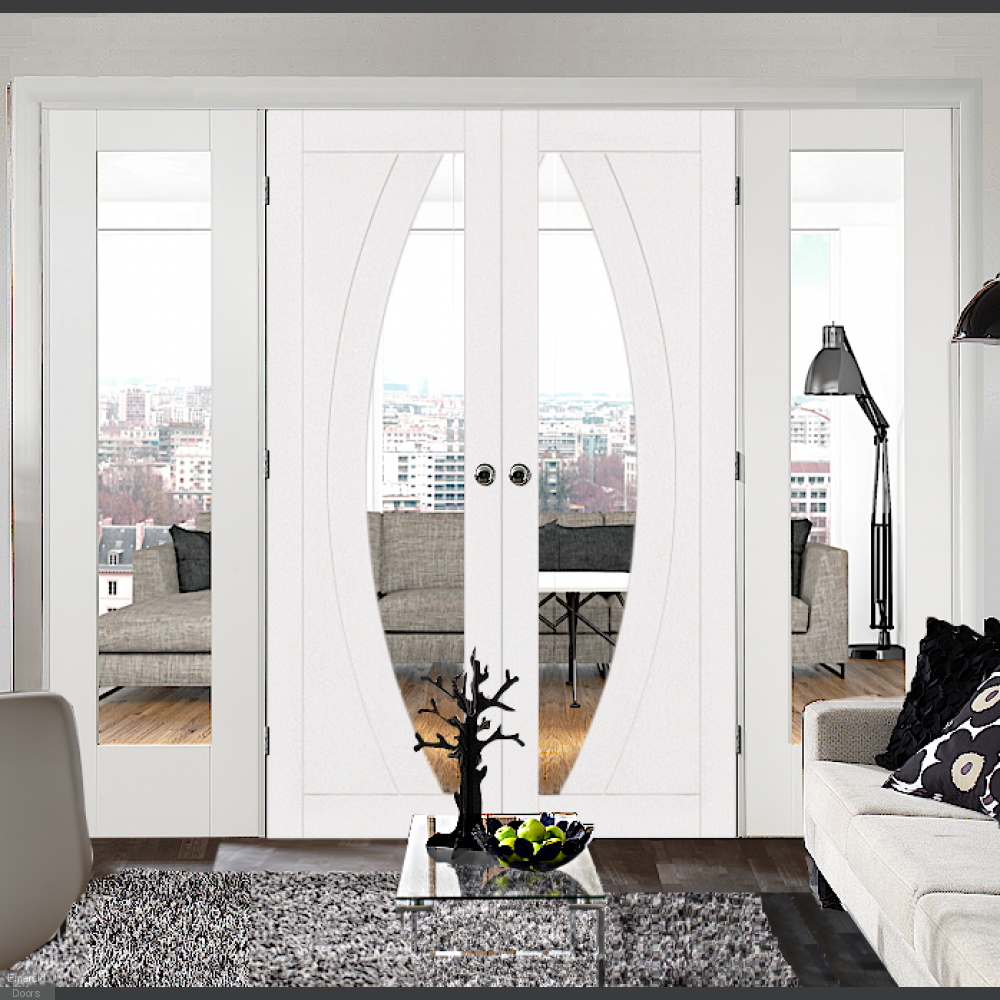 Buy White Salerno French Doors With Demi Panels Emerald