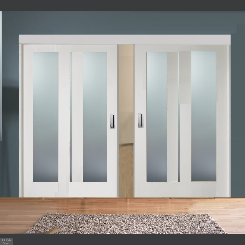 Buy Sliding Room Divider With White Obscure Glazed Doors