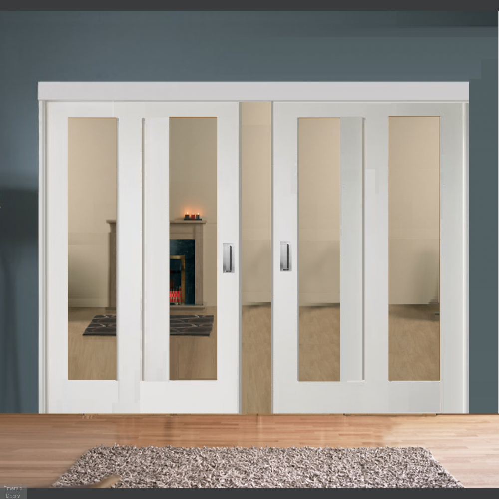 Buy Sliding French Doors With White Pattern 10 Clear