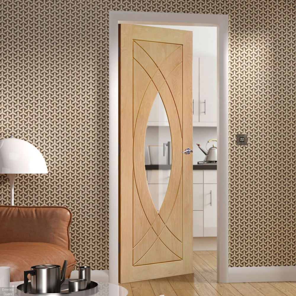 Buy Oak Treviso Sliding Door With Two Fixed Side Panels