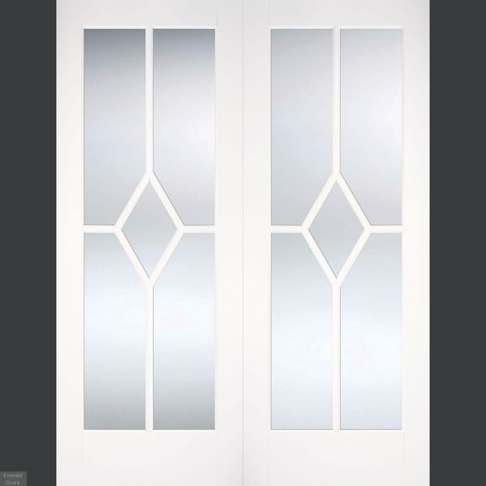 Buy Reims White Primed French Doors With Bevelled Glass