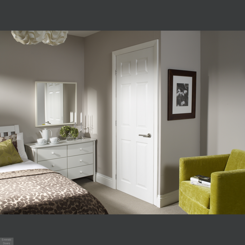 Buy White Moulded 6 Panel Door Fully Finished Emerald Doors