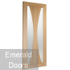 Oak Verona Sliding Door System with 2 Fixed Verona Panels