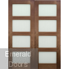 Walnut Shaker Frosted Glazed Door Pair