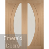 Oak Salerno Clear Glazed French Doors with Demi Panels