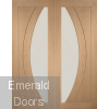 Oak Salerno Clear Glazed French Doors with Side Panels