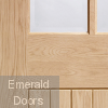 Suffolk 6 Light Internal Oak Door with Clear Bevelled Glass Close up Image