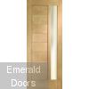 Modena Oak External Door with Obscure Glass