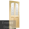 Rio Internal Clear Pine Door with Crystal Rose Glass Skewed Image