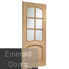 Riviera Internal Oak Door With Raised Mouldings and Clear Bevelled Glass Skewed Image