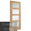 Shaker with Clear Glass Unfinished Oak Fire Door Skewed Image