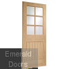 Suffolk 6 Light Internal Oak Door with Clear Bevelled Glass Skewed Image