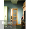 Shaker 4 Light Internal Oak Door with Obscure Glass In Roomset