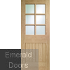 Suffolk 6 Light Internal Oak Door with Clear Bevelled Glass