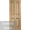 Victorian 4 Panel Oak Door with Raised Mouldings