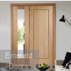 Oak Pattern 10 Single Solid Door Room Divider with Demi Panel